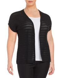 Lord & Taylor - Black Plus Open Front Knit Cardigan - Lyst