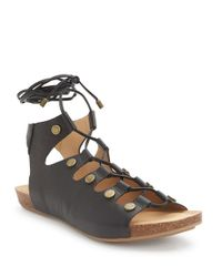 Me Too | Black Nori Leather Sandals | Lyst