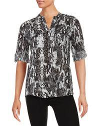 Calvin Klein   White Printed Linen Button-front Shirt   Lyst