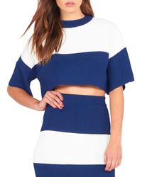 Kendall + Kylie | Blue Short-sleeve Cropped Top | Lyst