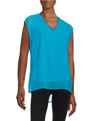 Calvin Klein | Blue Chiffon-overlay Blouse | Lyst