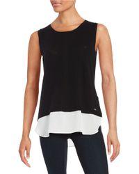 Calvin Klein | Black Knit Contrast Top | Lyst