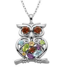 Lord & Taylor | Multicolor Multi-stone Owl Pendant Necklace | Lyst