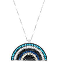 Lord & Taylor - Blue Cubic Zirconia Half Circle Necklace - Lyst