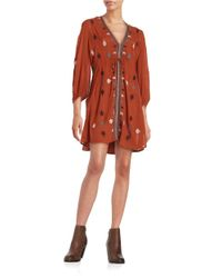 Free People | Brown Rayon Gauze Star Gazer Embroidered Dress | Lyst