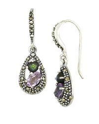 Lord & Taylor | Multicolor Amethyst And Abalone Sterling Silver Teardrop Earrings | Lyst