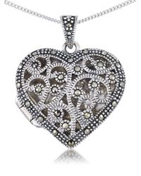 Lord & Taylor   Metallic Sterling Silver Heart Pendant Necklace   Lyst