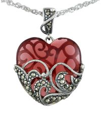 Lord & Taylor | Red Marcasite Heart Pendant Necklace | Lyst