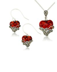 Lord & Taylor | Red Heart Pendant Necklace And Earrings Set | Lyst