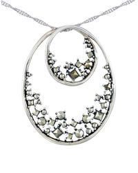 Lord & Taylor   Metallic Marcasite Double Oval Pendant Necklace   Lyst