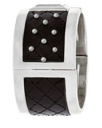 Steve Madden - Black Studded Quilted Leather Bangle Watch - Lyst