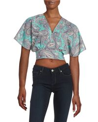 Lord & Taylor | Blue Paisley Cropped Top | Lyst