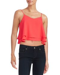 Lord & Taylor | Pink Cropped Ruffled Tank Top | Lyst