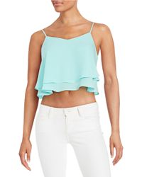 Lord & Taylor   Blue Cropped Ruffled Tank Top   Lyst