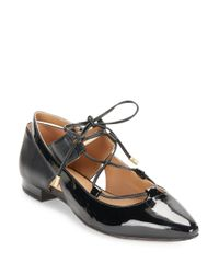 Calvin Klein | Black Evalyn Patent Leather Flats | Lyst