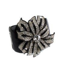 Kenneth Jay Lane | Metallic Rhinetone Flower Cuff Bracelet | Lyst