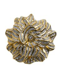 Kenneth Jay Lane | Metallic Pave Crystal Flower Pin | Lyst