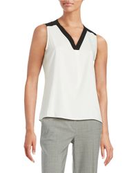 Calvin Klein | White Knit Contrast Shell | Lyst