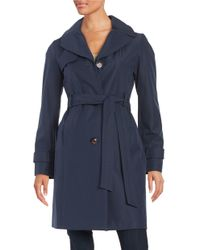 Ellen Tracy | Blue Genuine Fox Fur Trim Toggle Down Coat | Lyst