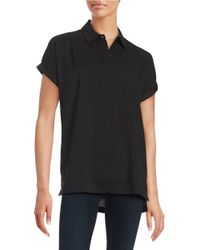 Lord & Taylor | Black Crepe Button-front Top | Lyst