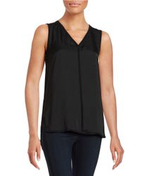 Lord & Taylor | Black Woven Front V-neck Shell | Lyst