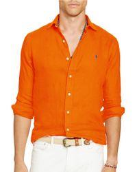 Polo Ralph Lauren   Orange Linen Sport Shirt for Men   Lyst