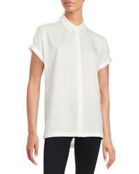 Lord & Taylor - White Petite Cuffed Button-down Blouse - Lyst