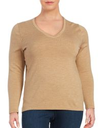Lord & Taylor | Natural Plus Merino Wool V-neck Sweater | Lyst