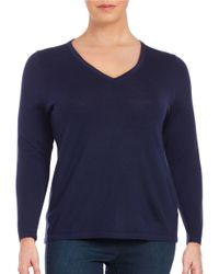 Lord & Taylor | Blue Plus Merino Wool V-neck Sweater | Lyst