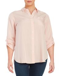 Lord & Taylor | Pink Plus Collared Button-front Shirt | Lyst