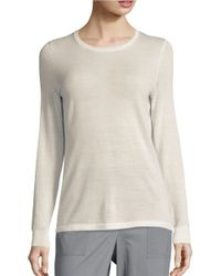 Lord & Taylor | White Crewneck Merino Wool Sweater | Lyst