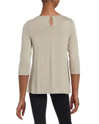Lord & Taylor - Multicolor Petite Shirred Neckline Blouse - Lyst