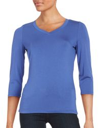 Lord & Taylor | Blue V-neck Tee | Lyst