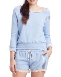 Jane And Bleecker | Blue Heathered Embroidered Sweatshirt | Lyst