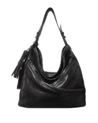 Sondra Roberts   Black Lizard Textured Leather Mini Hobo Bag   Lyst