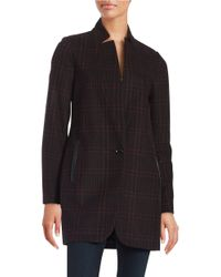 MICHAEL Michael Kors | Black Plaid Wool-blend Coat | Lyst