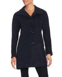 Ellen Tracy | Blue Plaid Wool-blend Jacket | Lyst