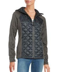 MICHAEL Michael Kors | Black Hooded Zip Front Raglan Jacket | Lyst