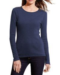 Lauren by Ralph Lauren | Blue Faux Leather Trimmed Roundneck Top | Lyst