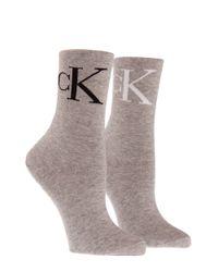 Calvin Klein | Gray Vintage Logo Crew Socks Set | Lyst