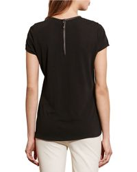 Lauren by Ralph Lauren - Black Faux Leather-trim Jersey Tee - Lyst