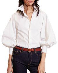 Lauren by Ralph Lauren | Multicolor Bishop Sleeve Cotton Shirt | Lyst