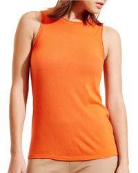 Lauren by Ralph Lauren | Black Silk Blend Sleeveless Sweater | Lyst