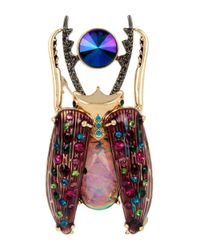 Betsey Johnson | Metallic Gold-tone Stone And Crystal Pave Beetle Pin | Lyst