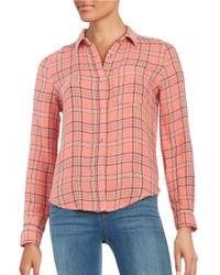 Calvin Klein | Pink Crinkled Long Sleeve Cotton Shirt | Lyst