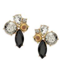 ABS By Allen Schwartz | Metallic Cluster Stone Earrings | Lyst