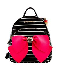 Betsey Johnson - Black Striped Bow Backpack - Lyst