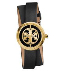 Tory Burch - Black 'reva' Logo Dial Double Wrap Leather Strap Watch - Lyst