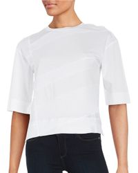 DKNY | White Panel Accented Tee | Lyst