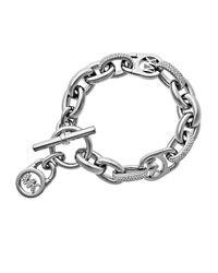 Michael Kors | Metallic Silvertone Oversized Chain Link Bracelet | Lyst